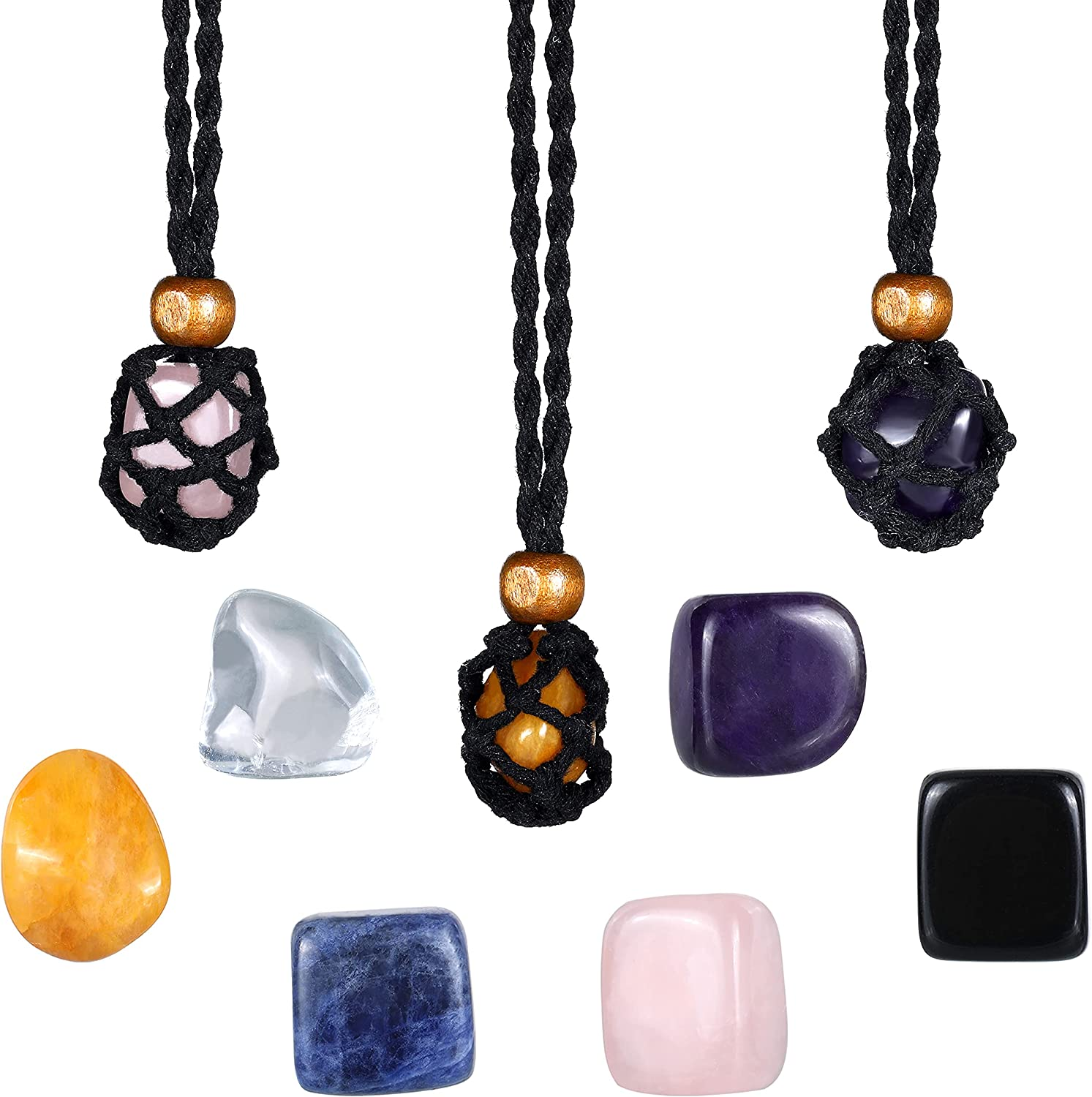 9 Pieces Necklace Cord Empty Stone Max 78% OFF Crystal 3 Set Holder Includes Max 51% OFF