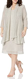 Le Bos womens Plus embroidered jacket dress Mother of the Bride Dress
