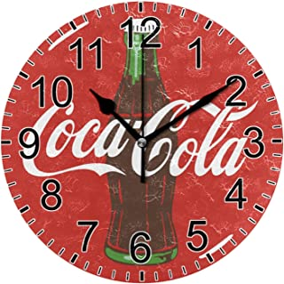 Vintage Round Wall Clock 10 Inch Silent Coca Cola Sign Farmhouse Home Decor for The Kitchen Living Room Bedroom Office School
