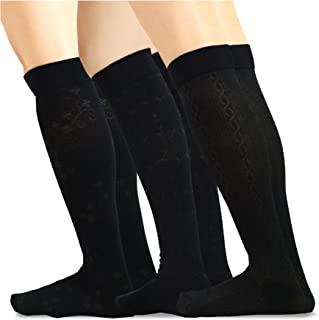 TeeHee Cotton Fashion Compression Knee High Socks 3-Pack