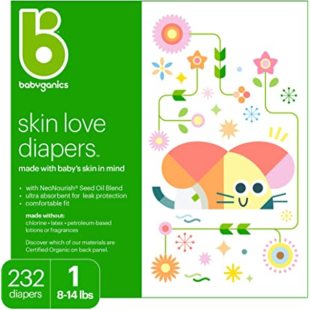 Baby Diapers, Size 1 (8-14 lbs) 232 Count- Babyganics Ultra Absorbent, Unscented, Made without Chlorine, Latex
