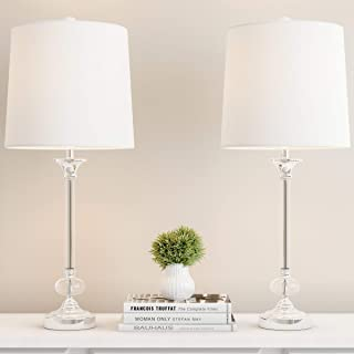 Lavish Home Crystal Lamps-Set of 2 Faceted Shiny Silver Lighting-Comes With 2 Matching Table Lamps-Elegant, Modern Accent Lights for Any Home Decor