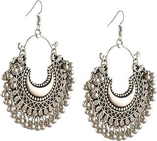 Zephyrr Fashion Oxidized Ethnic Silver Beaded Chandbali Earrings Women