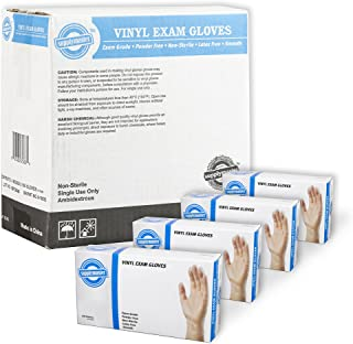 SupplyMaster Vinyl Exam Disposable Gloves - 4 Mil, Powder Free, Non-Sterile, Latex Free, Smooth, Ambidextrous, Large, Case of 400