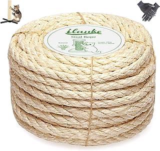 Homewit Jute touw henneptouw, 8mm x 25M natuurlijk sisal touw en dik jute touw met een paar handschoenen voor kattenkrabpa...