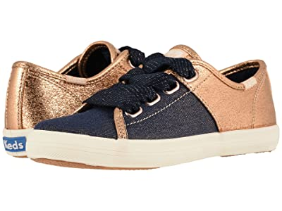 Keds Kids Kickstart Split (Little Kid/Big Kid) (Rose Gold/Denim) Girl