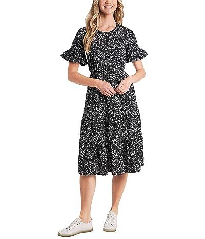 CeCe Short Sleeve Printed Ruffled Maxi Knit Dress