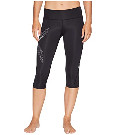 2XU Mid-Rise Compression 3/4 Tights (Black/Dotted Reflective Logo) Women