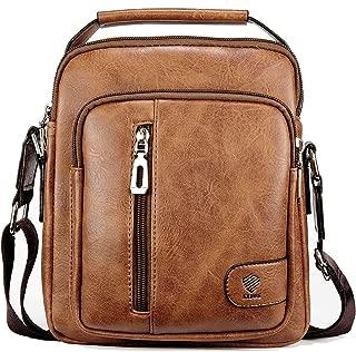 Elios Tan Brown PU Leather Trendy Designer Large Capacity Multi-Utility Travel Work Wear Messenger Bag for Men
