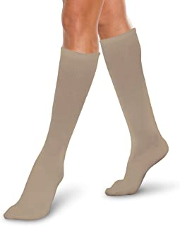 Therafirm Core-Spun Medical Compression Socks -Therafirm LIGHT Graduated Knee High FTherafirm LIGHT Compression Socks (Khaki, Large, 10-15mmHg)