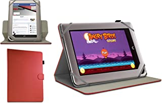 Navitech Red Faux Leather Case Cover with 360 Rotational Stand Compatible with The Nook Tablet/Nook Colour/Nook HD/Kobo Vox/Kobo Arc