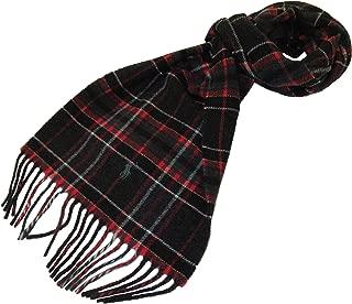 Polo Ralph Lauren Mens Wool Italy Tartan Plaid Scarf Charcoal