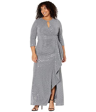 Alex Evenings Long Keyhole Neck Metallic Knit Gown with 3/4 Sleeves Side Shirred Skirt