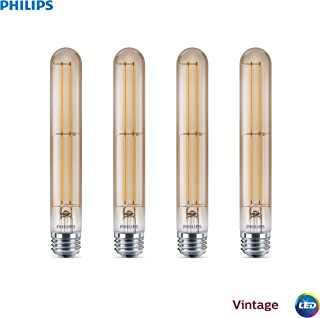 Philips LED Dimmable T10 Vintage Bulb: 300-Lumen, 2000-Kelvin, 4.5 (40-Watt), E26 Medium Screw Base, Amber Light, 4-Pack, Title 20 Compliant, 537605, White, 4 Piece
