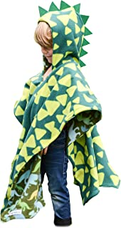 Kids Car Seat Poncho Halloween Costume Green Dinosaur Warm Blanket Safe Use OVER Seat Belts Baby Toddler with Spikes Costume