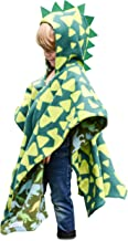 Kids Car Seat Poncho Green Dinosaur Warm Blanket Safe Use OVER Seat Belts Baby Toddler with Spikes Costume