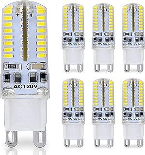 G9 Pin Base LED Bulb, 25 Watt Glass Halogen (Daylight White 6000K) Light Bulbs Replacement, 120V AC, 3W / 250 Lumens, T4 JCD Chandelier Incandescent Lamp, Pack of 6