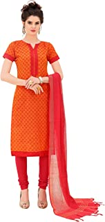 Minu salwar Cotton Printed Suit sets Orange(Minuhandloom_1008)