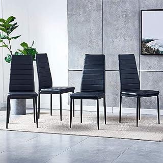 Furniture Black Juego de sillas de Comedor de 4 sillas de Cocina de Piel sintética con cómodo Asiento tapizado Acolchado Sillas de Oficina en casa contemporáneas para Espacios pequeños Resta