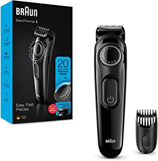 Braun Beard Trimmer BT3222, Beard Trimmer and Hair Clipper, 20 Length Settings, Black