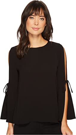 CeCe - Bell Sleeve Textured Blouse w/ Bows