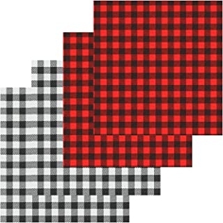 4 Sheets 12×12 Inch Cloth Fabric Iron-on Buffalo Plaid Sheet, Classic Plaid Adhesive Thermal Transfer Heat Transfer Cloth Sheets