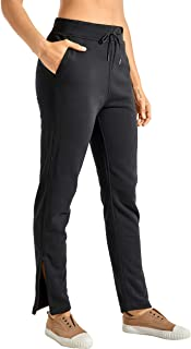 CRZ YOGA Women's Joggers Casual Cotton Sweatpants Zipper Leg Training Pants with Pockets