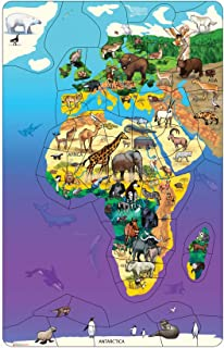 Dowling Magnets Animal Magnetism Magnetic Wildlife Map Puzzle: Eurasia & Africa (11.50 inches wide x 18 inches high)