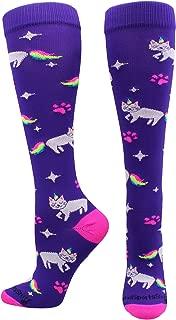 Half Cat Half Unicorn - Neon Rainbow Caticorn Athletic Over The Calf Socks