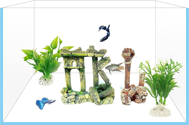 Yizhi Miaow Aquarium Ornament Kit Realistic Columns Appearance Fish Tank Resin Decor for Fresh Water