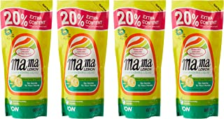 Mama Lemon Dishwashing Liquid Refill, Regular, 600ml (Pack of 4)