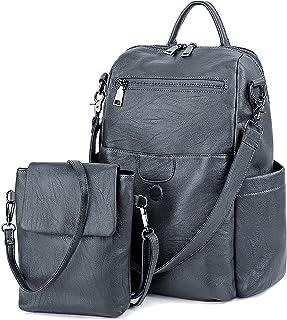 Women Backpack Purse Ladies Rucksack Detachable Crossbody Shoulder Bag PU Leather/Nylon Fabric Version