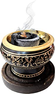 Aromatika Brass Burner Used To Burn Incense/ Charcoal/ Sambrani Dhoop/ Resin/ with Wooden Coaster To Hold the Burner