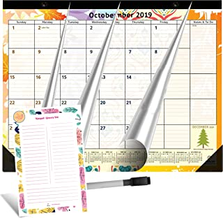 Large Magnetic Calendar 2019-2020 for Fridge by StriveZen, 16x12 inches, Big Monthly Pages Sep 2019- Dec 2020, Bonus Dry Erase Notepad/Grocery List and Dry Erase Marker