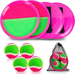 Qrooper Kids Toys Toss and Catch Game Set, Ball Sports Games with Paddles Balls and Storage Bag, Classic Outdoor Games, Be...