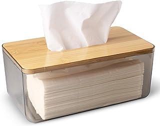 LifeLAZA Minimalist Tissue Box Cover Holder, Modern Transparent Rectangular Bamboo Facial Tissues Dispenser for Bathroom, ...