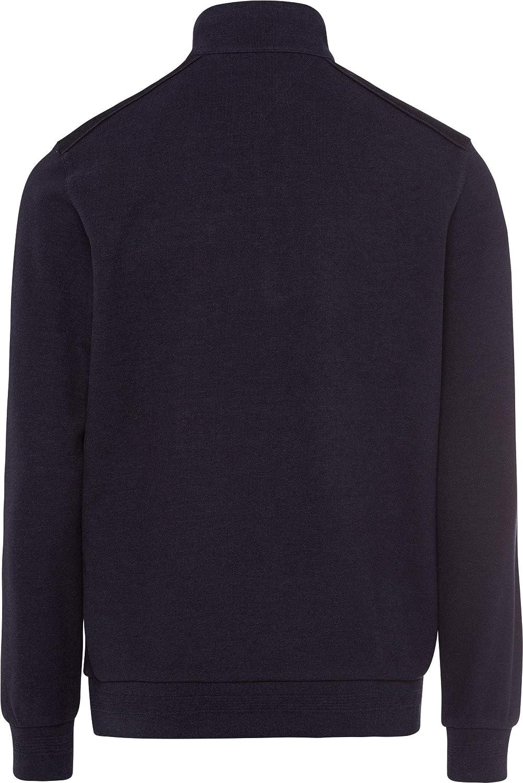 BRAX Style Siro College Rib Brushed Troyer Stehkragen Sweater Homme Bleu Marine