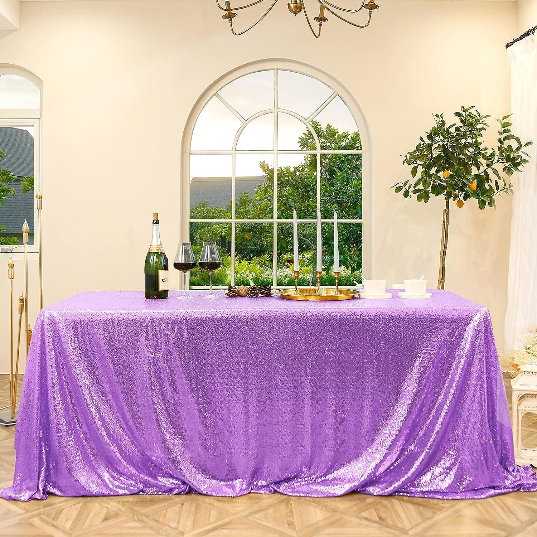 Sequin Tablecloth Rectangular Light Purple Genuine Free Shipping 90X132 Luxury Glitterin inch