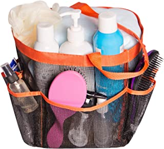 Attmu Portable Mesh Shower Caddy with 8 Storage Pockets, Quick Dry Waterproof Shower Tote Bag Oxford Hanging Toiletry and Bath Organizer for Shampoo, (D-Orange)