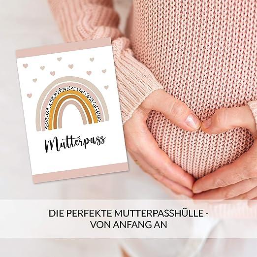 beliebtes Geschenk f/ür Schwangere Mutterpassh/ülle f/ür die Schwangerschaft 3-teilig mit Fach f/ür die Ultraschallbilder H/ülle f/ür den deutschen Mutterpass mit zauberhaftem Regenbogen