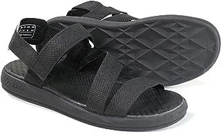 SAADO Men's Outdoor Walking Sandal, Parachute Leather Strap Sandal for Men, Comfortable Lightweight Beach Summer Sandal Black Size: 11.5