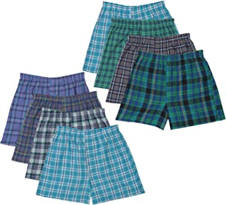 Fruit of the Loom 8- Pack Boy's Woven Plaid Boxer