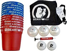 Bearpong Deluxe Beach Game Set: 12 BEARPONG Buckets, 3 BEARPONG Balls, 2 Beach Balls, 1 Ball Pump with Carrying Case, and Instructions