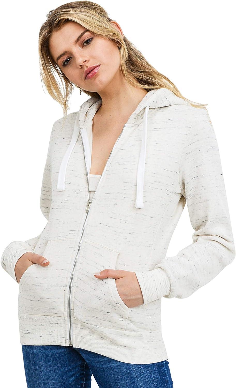 esstive Women's Ultra Soft Fleece Comfortable Basic Casual Active Lounge Solid Lightweight Full Zip Hoodie Jacket