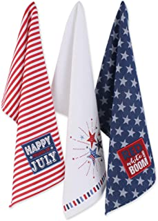 DII 4th of July Kitchen Collection 100% Machine Washable Cotton for Entertaining, Cooking, Baking or Barbeques, Dishtowel ...