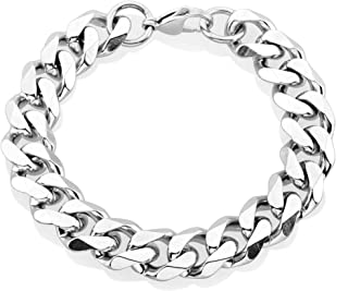 Crucible Jewelry Mens Stainless Steel Beveled Curb Chain Bracelet (14 mm)