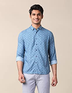 True Blue Men Printed Blue Shirt