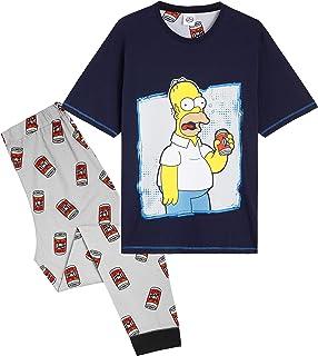 The Simpsons Pijama Hombre, Ropa Hombre Algodon 100%, Conjunto Pijamas Hombre 2 Piezas con Personaje Homer, Regalos para H...