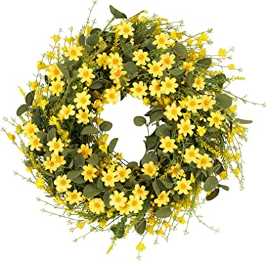 """Artflower Spring Daisy Wreath, 20"""" Artificial Yellow Daisy Wreath Decor Front Door Wreaths with 2 Sticky Hooks Spring and"""