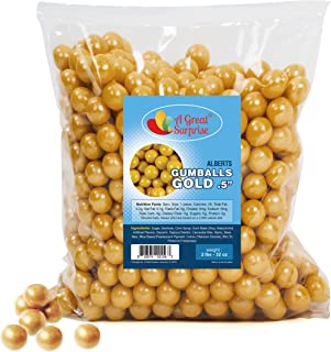 Gold Gumballs for Candy Buffet - Apx. 620 Gumballs - 2 Pounds - Mini Shimmer Gumballs 1/2 Inch - Gold Candy - Bulk Candy